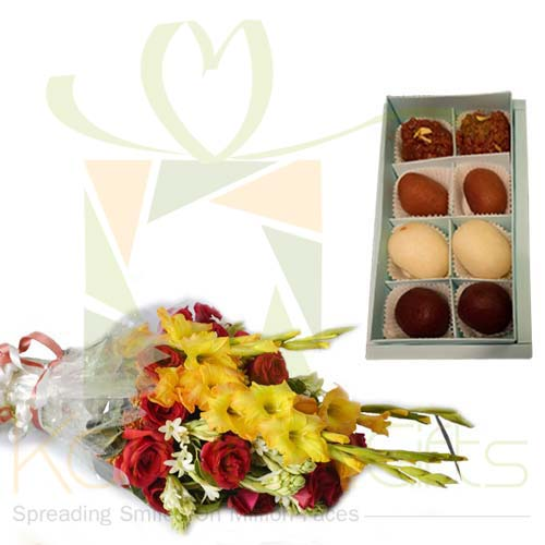 Flowers With Mithai Box (Small)