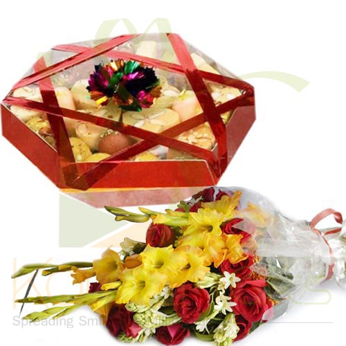 Flowers With Mithai Tokra