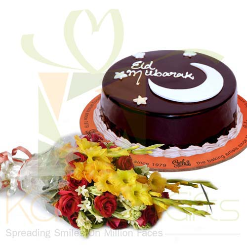 Eid Cake With Bouquet