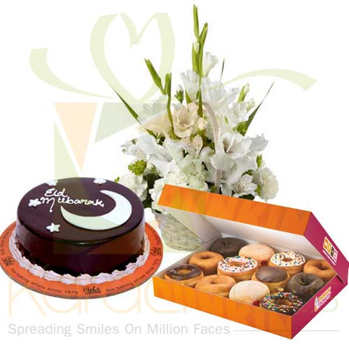 Glads Basket With Eid Cake And Donuts