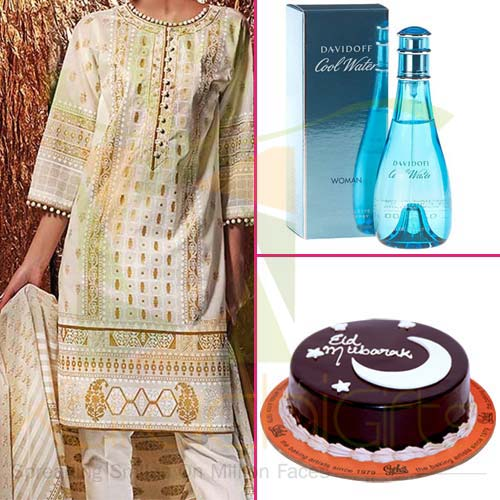 Eid Cake With Perfume and Suit