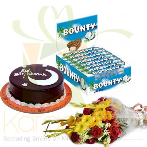 Bounty Eid Cake And Flowers