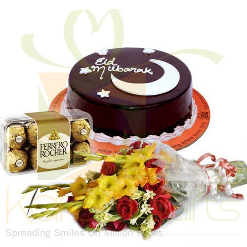 Eid Cake With Ferrero And Flowers