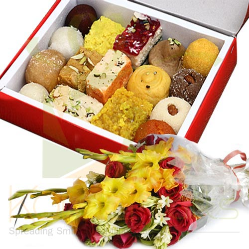 Flowers With Mithai