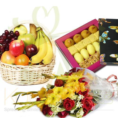 Flowers With Mithai And 5Kg Fruits