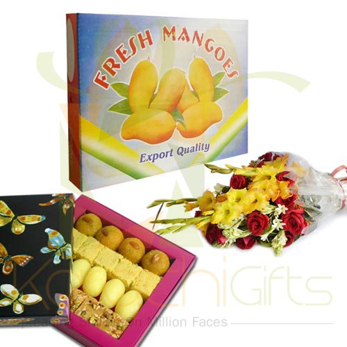 Mango Box With Mithai n Flowers