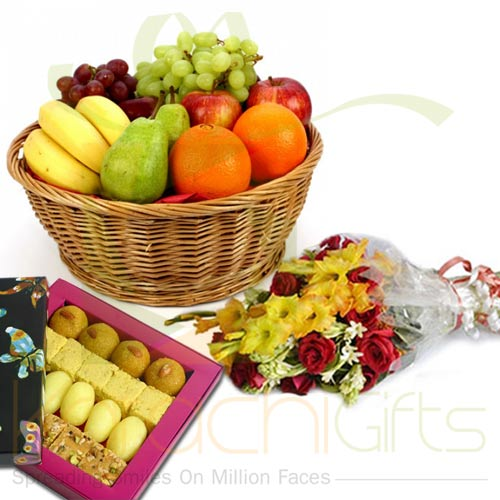 Flowers Mithai And 10Kg Fruits