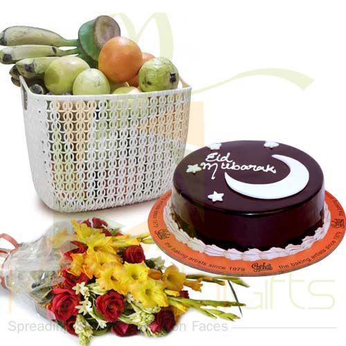Fruits Flowers With Eid Cake
