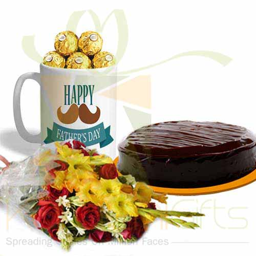 Ferrero Mug With Cake And Flowers
