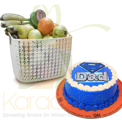 Fruits With Super Dad Cake