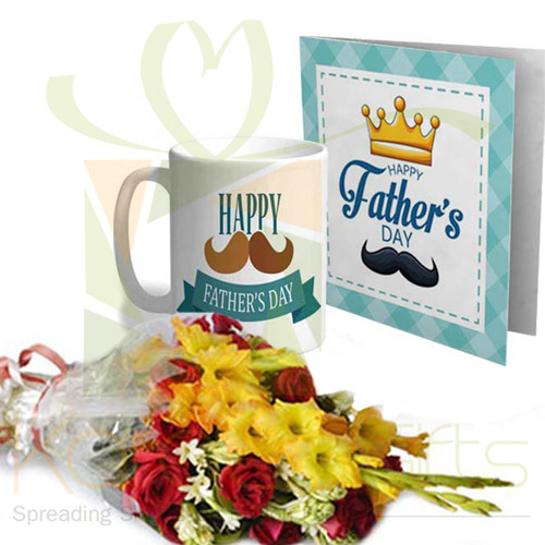 Card Mug Flowers For Fathers Day