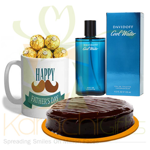 Perfume With Choco Mug And Cake For Abbu