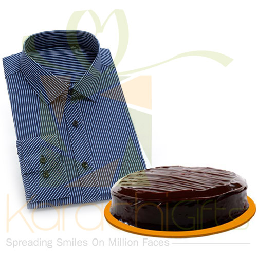 Blue Striped Shirt With Cake