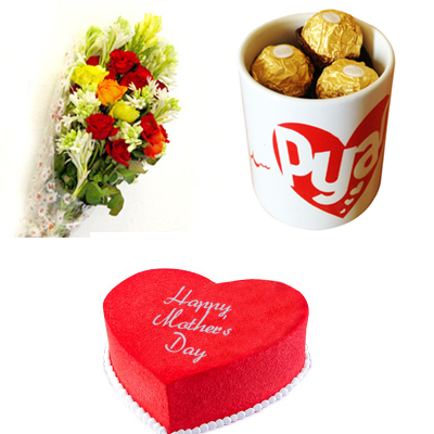 Flowers & Chocolates in Mug & Heart Cake (2lbs)