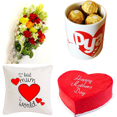 Flowers & Chocolates in Mug & Heart Cake & Cushion