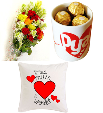 Flowers & Chocolates in Mug & Cushion
