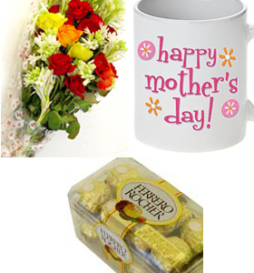 Flower Bouquet & Mothers Day Mug & Chocolates