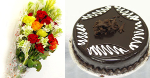 Flowers Bunch & Cake ( 2lbs)