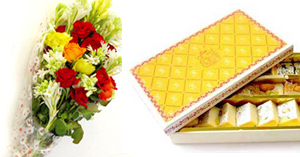 Flowers Bunch & Mithai (1 KG )