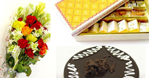 Flowers Bouquet + 2.2 Lbs Chocolates Cake + 2 Kg M