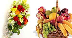 Flowers Bunch & Small Fruit Basket
