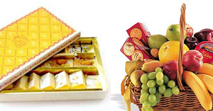 Diamond : Sweets  ( 2 KG ) & Fruit Basket