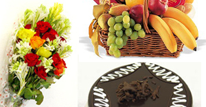 Flowers & Cakes (2lbs) & Fruit Basket
