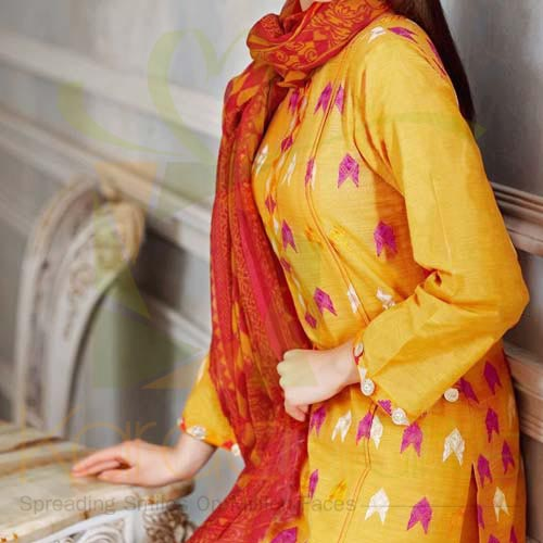 Embroidered Mustard By Gul Ahmed