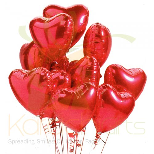 Red Heart Balloons (12 Pcs)