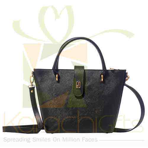 Ladies Hand Bag Black Gold