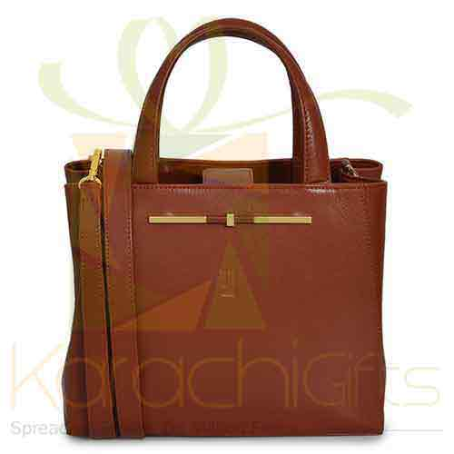 Hand Bag Dark Tan Gold