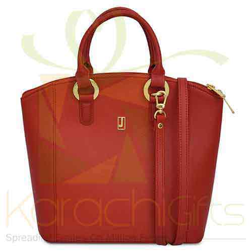 Leather Handbag Red Gold