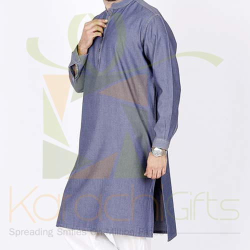 Denim Blue Kurta By Junaid Jamshed