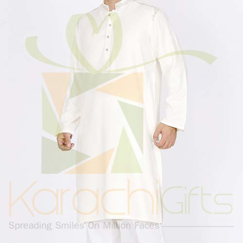 Cream Kurta By Junaid Jamshed