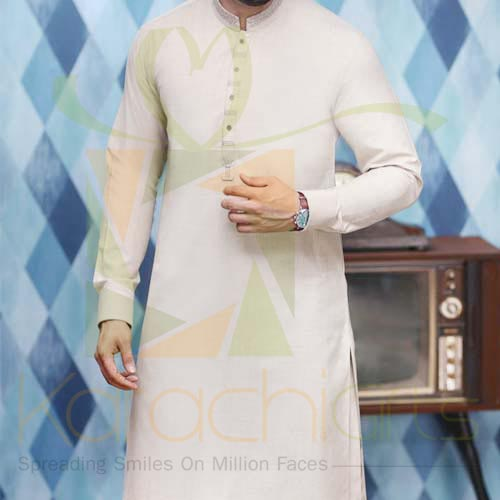 Fawn Suit By Junaid Jamshed