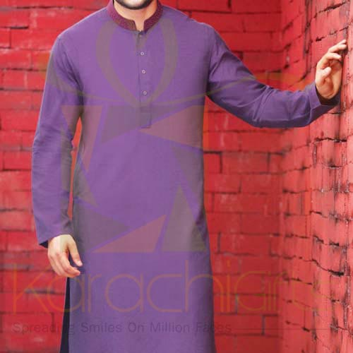 Purple Kurta By Junaid Jamshed