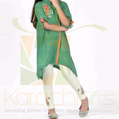 Green Embroidered Kurta (Khaadi)