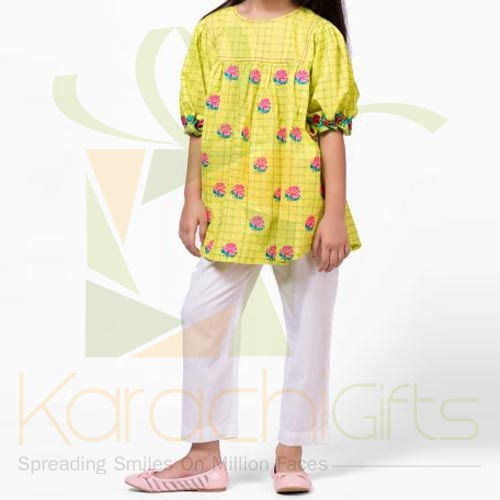 Yellow Embroidered Kurta (Khaadi)