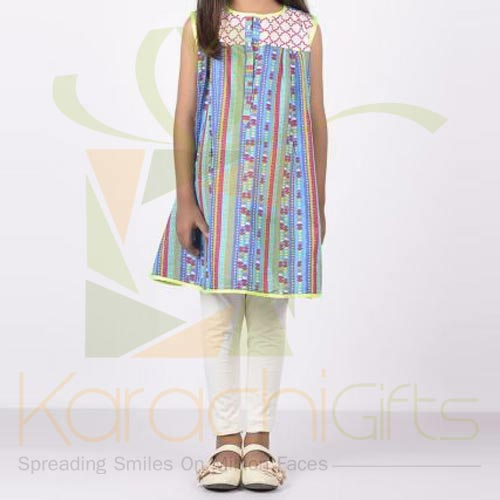 Multi Embroidered Kurta Blue (Khaadi)