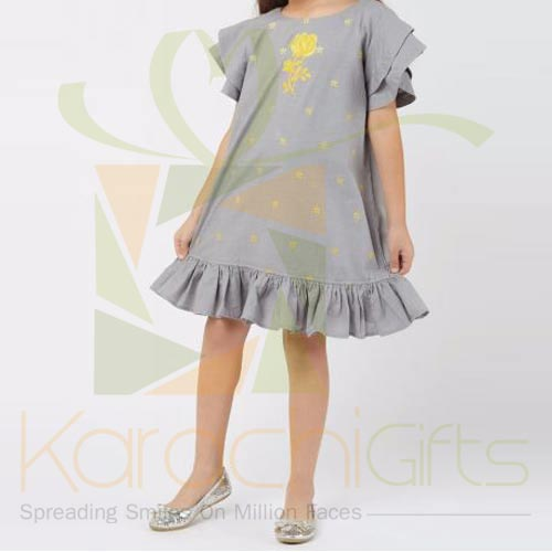 Grey Embroidered Dress (Khaadi)