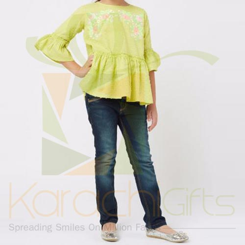 Green Embroidered Blouse (Khaadi)
