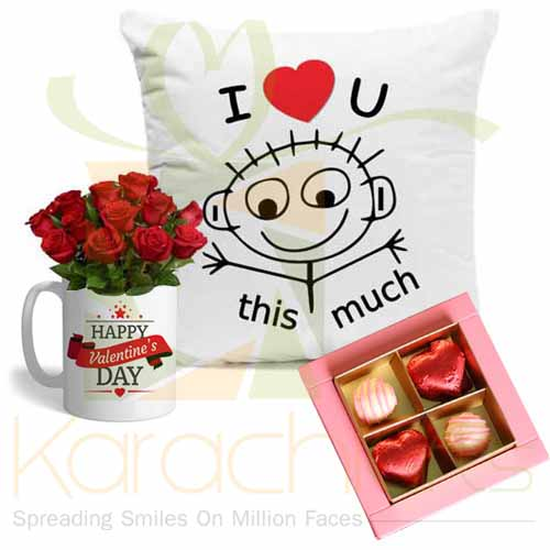 Lal Chocos Rose Mug And Cushion