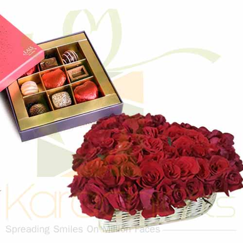 Lals Chocolate With Rose Heart Basket