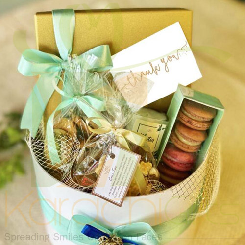 Signature Round Hamper With Gold box By Lals