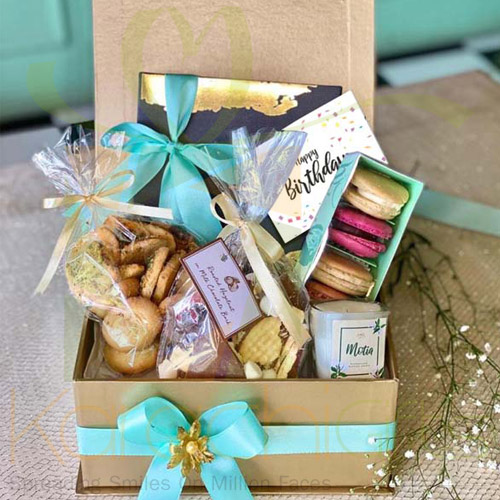 Gold Hamper With Charcoal Grey Box By Lals