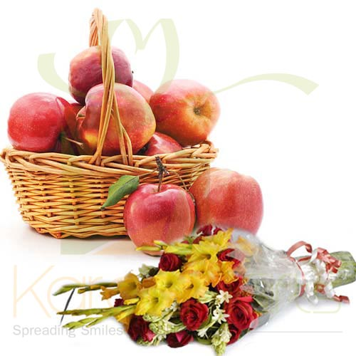 Apple Basket With Bouquet