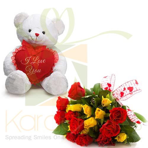 Mix Flowers With Teddy