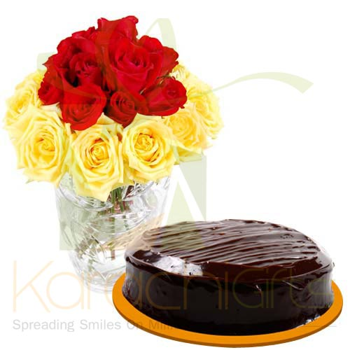 Red Yellow Roses With Cake