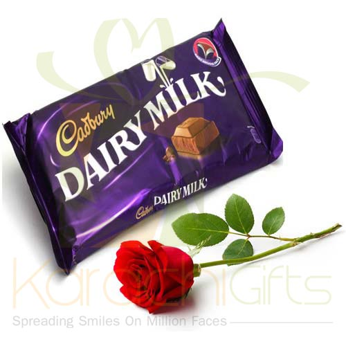 Single Rose With Cadbury