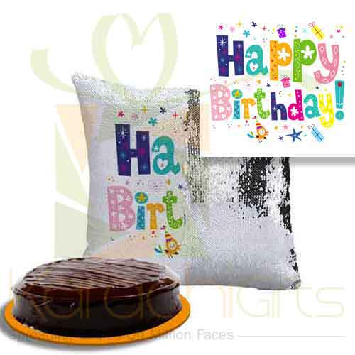 Birthday Sequin Cushion With Cake